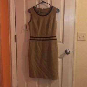 Tan and brown midi dress